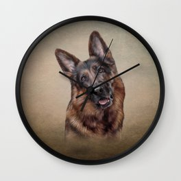 Drawing German Shepherd Dog Wall Clock