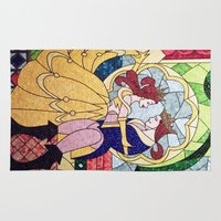 beauty and the beast Area & Throw Rugs featuring Beauty and the Beast by DisPrints