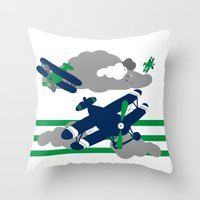 airplanes Throw Pillows featuring Airplanes 2  by ann t jones