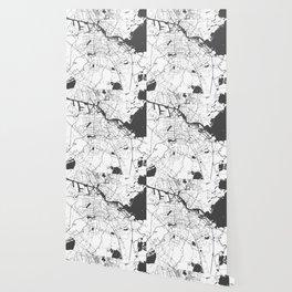 Amsterdam White on Gray Street Map Wallpaper