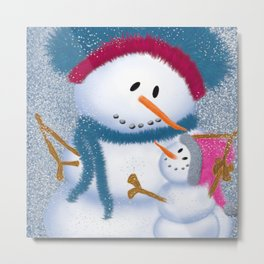 The SnowMomma And SnowGirl Metal Print