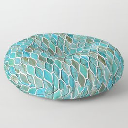 Summery Turquoise Glass Tiles Pattern Floor Pillow