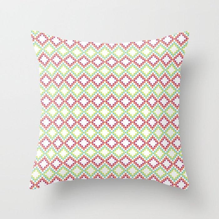 Bright Cross-Stitch Squares Throw Pillow