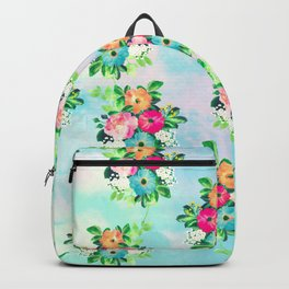 Girly Vintage Roses Floral Watercolor Paint Backpack