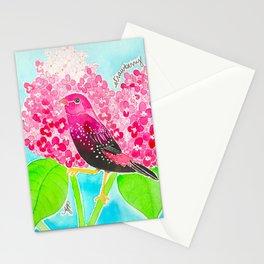 Strawberry Finch & Hydrangeas Stationery Cards