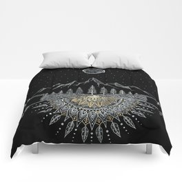 Moon and Stars Night Sky Mountain Range Arrow Mandala Comforters