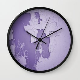 Damaged wall pic in background with purple color, ready for clothes,furnitures, iphone cases Wall Clock