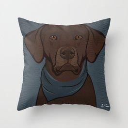 Icons of the Dog Park: Chocolate Labrador Design in Bold Colors for Pet Lovers Art Print Throw Pillow