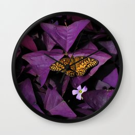 Purple Oxalis 2 Wall Clock