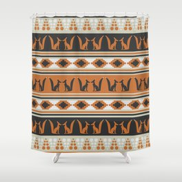 Foxes And Ethnic Shapes Shower Curtain