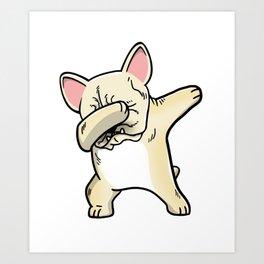 Funny Cream French Bulldog Dabbing Art Print