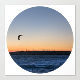 """TWO BIRDS WITH ONE STONE"" kitesurf . kite . surf Canvas Print"