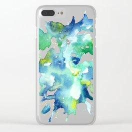 Blue Watercolor Color Splash Splatter Clear iPhone Case