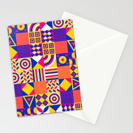 Vintage Hipster Cool Multicolor Decorative Decor Cubes Pattern Stationery Cards