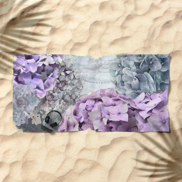 Purple Vintage Flower Hydrangea Hortensia Collage Beach Towel