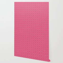 Cerise Pink Square Chain Pattern Wallpaper