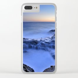 Blue seaside Clear iPhone Case