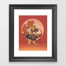 Samurai Moon Framed Art Print