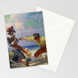 """The Duel on the Beach"" by NC Wyeth Stationery Cards"