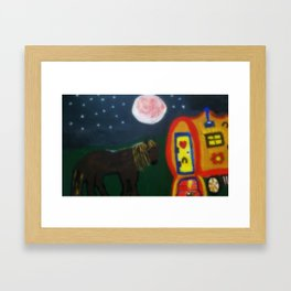Horse And Gypsy Caravan Framed Art Print
