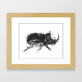 Beetle 1. Black on white background Framed Art Print