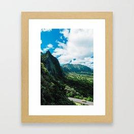 Nu'uanu Pali Lookout, Oahu, Hawaii Framed Art Print