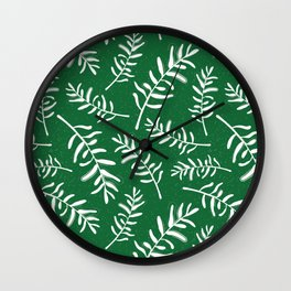 Forest green and white pattern with olive branches Wall Clock