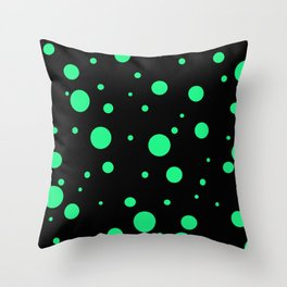Green Bubbles On Black Throw Pillow