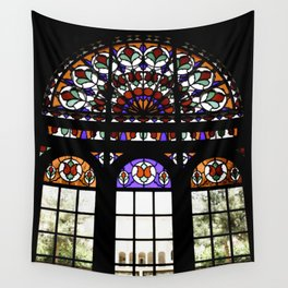 Colorful Rainbow Stain Glass Persian Window Art Wall Tapestry