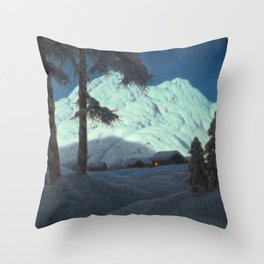 Winter Cabin in the Mountains landscape painting by Ivan Fedorovich Choultsé Throw Pillow