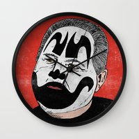 rush Wall Clocks featuring Rush Juggalaugh by Chris Piascik