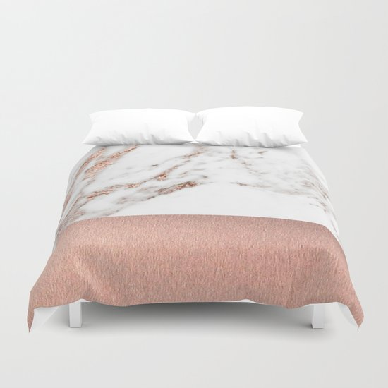 Rose Gold Marble And Foil Duvet Cover By Marbleco Society6