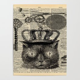 dictionary print steampunk gear halloween spooky black cat Poster