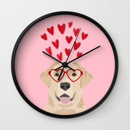 Yellow Lab valentines day labrador retriever dog breed must have gifts retrievers Wall Clock