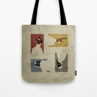 bioshock Tote Bags featuring Bioshock - Citizens of Rapture by Art of Peach