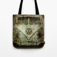 vw bus Tote Bags featuring VW Micro Bus  by BruceStanfieldArtist illustrator