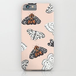 Muted Illustrated Moth Pattern iPhone Case