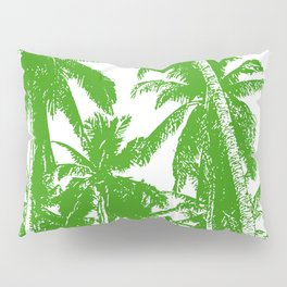 Palm Trees Design in Green and White Pillow Sham