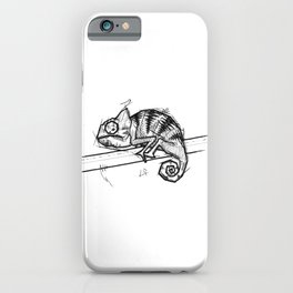 Chameleon Handmade Drawing, Made in pencil and ink, Tattoo Sketch, Tattoo Flash, Blackwork iPhone Case