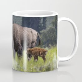 American Buffalo Bison Mother and Calf in Yellowstone National Park Coffee Mug