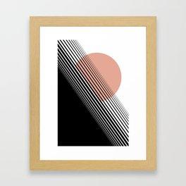 Rising Sun Minimal Japanese Abstract White Black Rose Framed Art Print