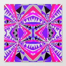 psychedelic geometric abstract pattern background in pink and purple Canvas Print