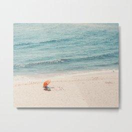 The Orange Beach Umbrella Metal Print