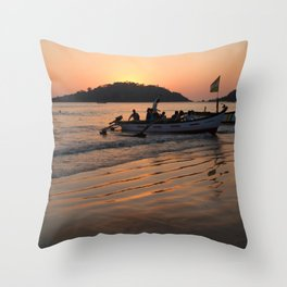 Returning from Dolphin Trip Palolem Throw Pillow