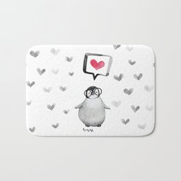 Tiny penguin love Bath Mat