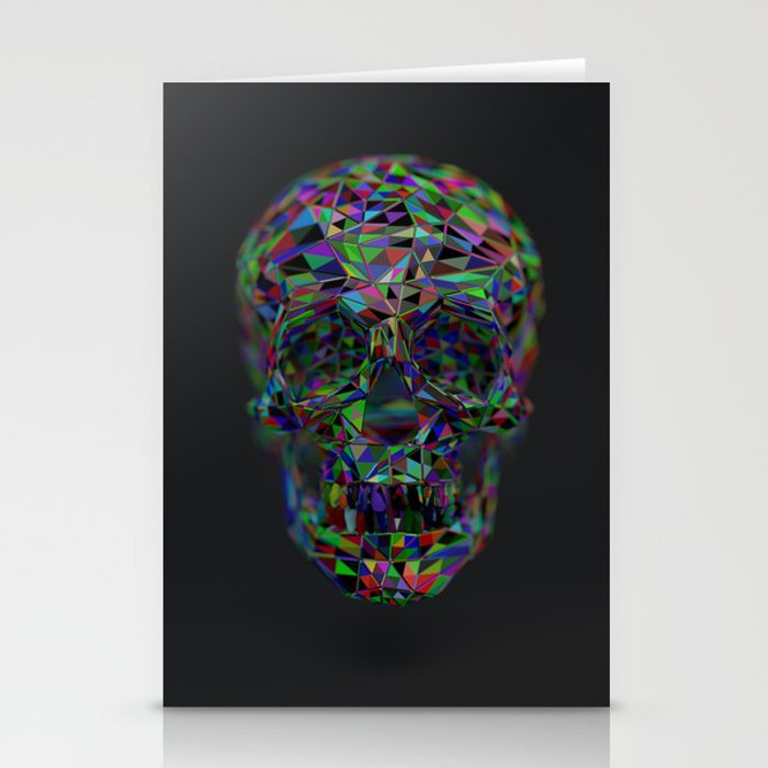 Skull Low-Poly Color Stationery Cards