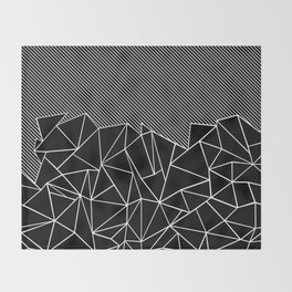 Ab Lines 45 Black Throw Blanket