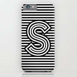 Track - Letter S - Black and White iPhone Case