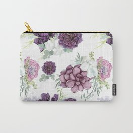 Succulents Deep Violet Lavender Pastel Green Lilac PatternSee Nature Magick for more pretty pastel c Carry-All Pouch