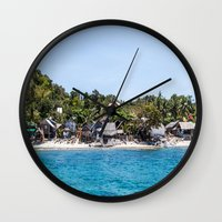 philippines Wall Clocks featuring Chapel Reef at Apo Island Philippines by Jennifer Stinson